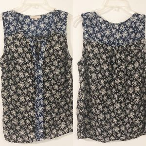 Skies are Blue Floral Color Contrast Blouse Tank